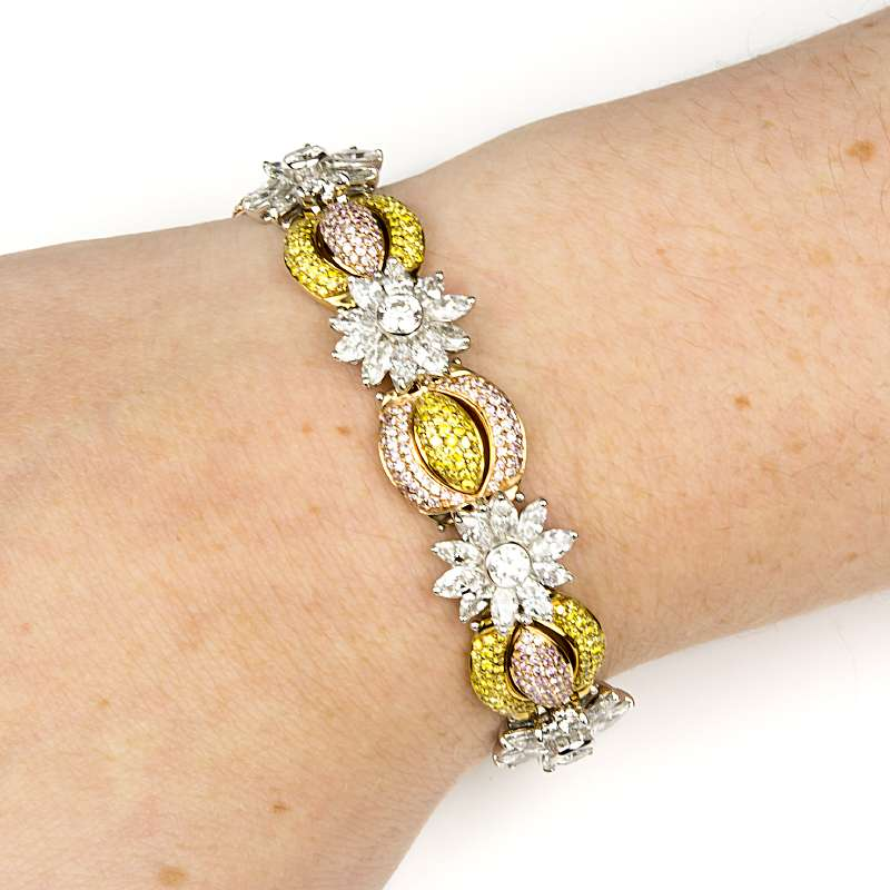 White Gold Fancy Yellow, Natural Pink and White Diamond Bracelet